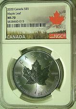 2020 Canada S$5 MAPLE LEAF 1 Oz. Silver Bullion Strike  NGC MS70 - RARE IN 70
