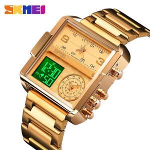 SKMEI Men Watch Luxury Steel Quartz Wristwatch LED Digital Electronic Gold Watch