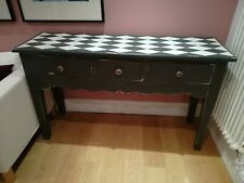 Vintage Hand Painted Pine Console/Hall Table With Three Drawers/ Dark Grey