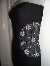Sky Clothing Brand M NWT Dress Black Side Mesh Cutout Ruched Beaded Spring Club