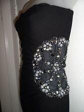 Sky Clothing Brand M NWT Dress Black Side Mesh Cutout Ruched Beaded Spring Club