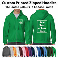 Custom Printed Zipped Hoodie Unisex Personalised Stag Hen Workwear Gildan Hoody