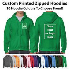 Custom Printed Zipped Hoodie Unisex Personalised Stag Hen Workwear Gildan Hoody