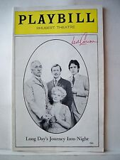 LONG DAY'S JOURNEY INTO NIGHT Playbill LEN CARIOU Autographed BOSTON, MA 1977