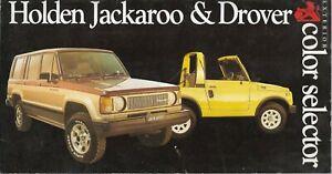 HOLDEN JACKAROO & DROVER EXTERIOR COLOUR SELECTOR BROCHURE 1985