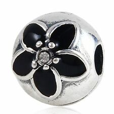 STOPPER CLIP BLACK FLOWER 925 sterling silver charm bead fit european bracelet