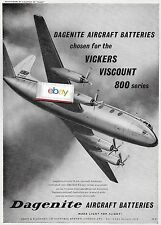 BEA BRITISH EUROPEAN 1958 VISCOUNT 800'S WITH DAGENITE BATTERIES AD