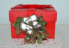 "NIB $150 HEIDI DAUS ""Marvelous Magnolia"" Floral Pin Brooch SWAROVSKI Crystals"