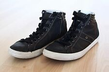 GEOX MENS BLACK LEATHER & SUEDE RESPIRA SNEAKERS SIZE 8 HI TOP BOOTS SHOES $160