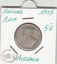 F4863 MONEDA AUSTRALIA 1 SCHILLING PLATA 1913