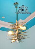 Mid Century Sputnik Chandelier Modern Chrome Brass Pendant Lamp Ceiling Light