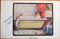 Risque 1916 Postcard: 'Naughty Dog' Watching Woman in Bathtub