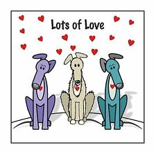 Greyhound & lurcher card - 'Lots of Love'