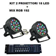 FARO RGB X2 PAR LED STROBO 18 LED WASH PROGRAMMABILE DMX + MIX RGB EFFETTO DISCO