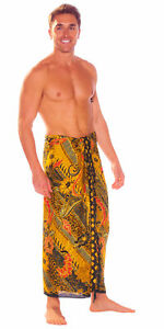1 World Sarongs Mens Sarong With Traditional Motif Brown Green - LavaLava - Toga