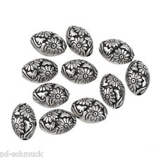 PD:10 Antik Silber Acrylperlen Oval Beads Kunststoffperlen Spacer Blumen 1.4x1cm