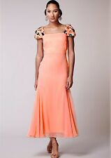 Virgos Lounge Embellished Maxi Peach Cocktail Party Dress 6 to 18