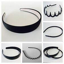 Black plastic Alice band hair headband gripper teeth wide & narrow girls ladies