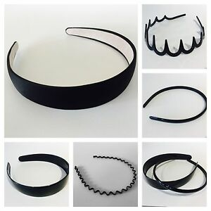 Black plastic Alice band hair headband gripper teeth wide & narrow girls ladies