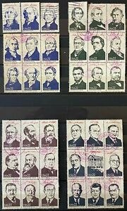 US Scott #2216-19 (Presidential stamps 22c 1986) Complete set of 36 USED