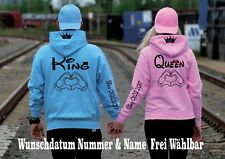 Hoodie mit King Queen Motiv Pullover Partner Look XS-5XL Couple Insta Blogger