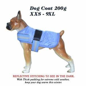 Dog Coat Blue XXS-9XL 8''-34'' Puppy 420D Winter Thermo 200g Fill Waterpf