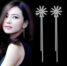 Jewelry 925 Sterling Silver Crystal Sun Flower Tassel Party Cocktail Earrings