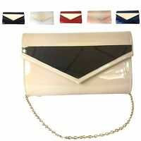 Ladies Faux Patent Envelope Clutch Bag Gold Detail Evening Bag Purse MA34784