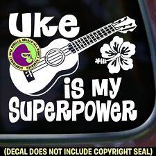 UKE SUPERPOWER Vinyl Decal Sticker Ukulele Hawaiian Folk Bumper Car Window Sign