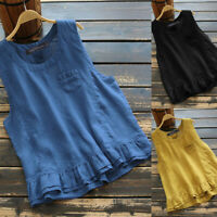 ZANZEA 8-24 Women Flare Peplum Tank Top T Shirt Tee Vest Cami Sleeveless Blouse