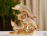 New Golden Simple Delicate Ceramic Dolphin Family Craft Decoration Gift