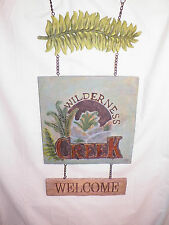 "New Welcome Wilderness Creek Decorative Hanging Sign Rustic Cabin Look 25"" Long"