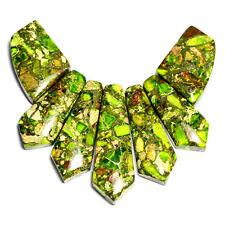 Lime Green Sea Sediment Jasper Necklace Pendant Bead Set Jewellery Making Shop
