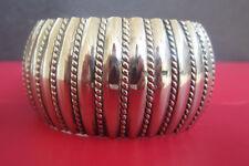 Vintage WIDE SOUTHWESTERN LINED TWIST CUFF BRACELET Chunky Silver Tone Metal