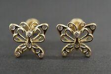 14K Solid Yellow Gold Women Children Butterfly CZ Screw Back Earrings.
