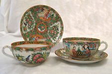 antique 1850's Rose Medallion China teacup & saucer - 4 pc set (3 sets avail.)