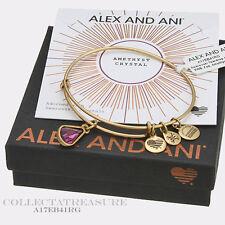 Authentic Alex and Ani Teardrop February Birthstone Rafaelian Gold Bangle