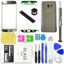 For Samsung Galaxy S7 Edge G935 OEM Silver Front Lens Back Glass Replacement Kit