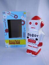 Retro Robot Saving Bank New in Box Red & White Ceramic Piggy Bank