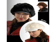 Winter Schirmmütze aus Hasenfell für Damen Mütze/Hut/Ballon/Kappe in weiß NEU