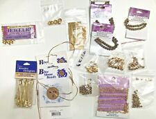 Lot of Jewelry Making Supplies Barrels Chains Spacers & misc. Unused Gold Tone