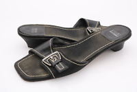 Stuart Weitzman Womens 9M Black Leather Slide Buckle Sandals