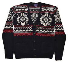 Polo Ralph Lauren Purple Label Cashmere Cardigan Nordic Sweater Black Red Medium