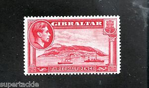 1938 Gibraltar Sc# 109 * MH 1½p Harbour, war ship, architecture, coat of arms.