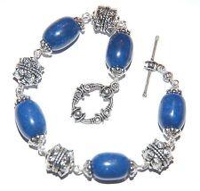 Chunky Navy Blue LAPIS LAZULI Gemstone & Tibetan Silver Bead Linked Bracelet