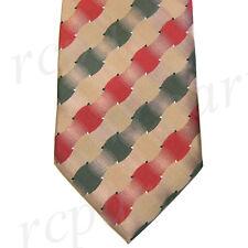 New men's polyester woven neck tie necktie prom beige red green checkered formal