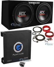 "MTX TNE212D2 Dual 12"" 1200W Loaded Car Subwoofer + Planet Amplifier + Amp Kit"