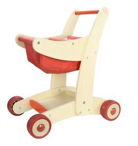 60%Off Wooden Children Shopping Cart Kids Toy Supermarket Trolley Storage RRP£68