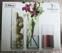 NIB Libbey 3-Piece Sabinas Cylinder Decorative Bud Vases Glasses