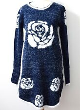 Ladies Womens Tinsel Knitted Navy Dress Crew Neck Jumper Long Sleeve Stretch
